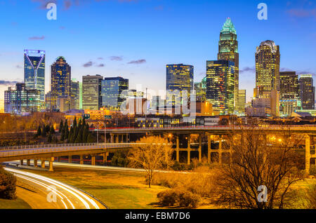 Charlotte, North Carolina, USA downtown skyline. - Stock Photo