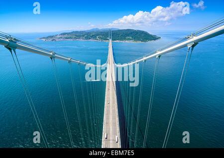 Awaji Island, Japan viewed from Akashi Kaikyo Bridge Tower. - Stock Photo