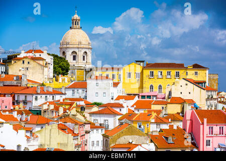 Lisbon, Portugal skyline at Alfama, the oldest district of the city with the National Pantheon. - Stock Photo