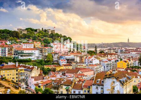 Lisbon, Portugal skyline at Sao Jorge Castle at dusk. - Stock Photo