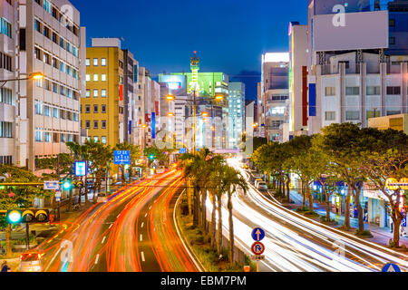 Naha, Okinawa, Japan downtown cityscape over the expressway.