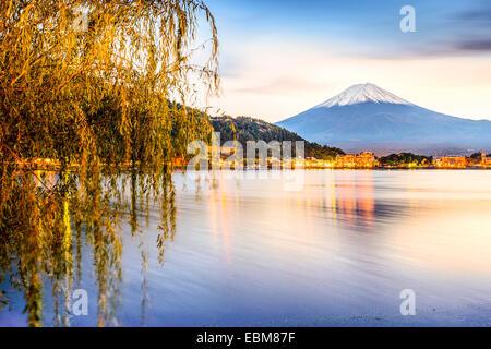 Mt. Fuji at Kawaguchi Lake in Japan. Stock Photo