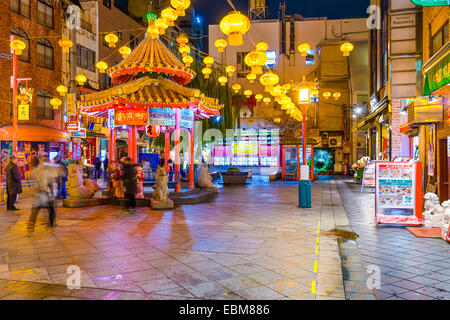 Kobe Chinatown in the evening. It is one of three designated Chinatowns in Japan. - Stock Photo