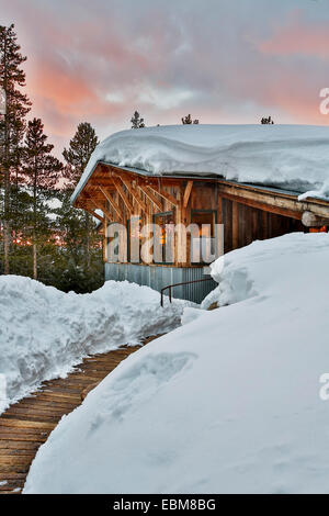 Snow-covered Fritz Hut, Benedict Huts, near Aspen, Colorado USA - Stock Photo