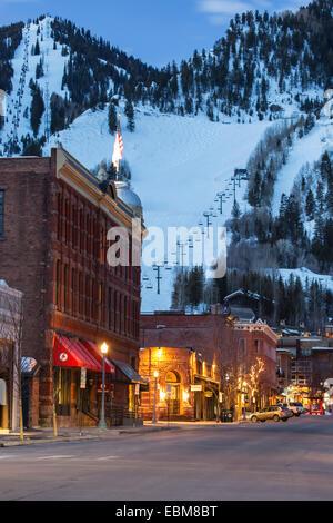 Downtown and Aspen Mountain, Aspen, Colorado USA
