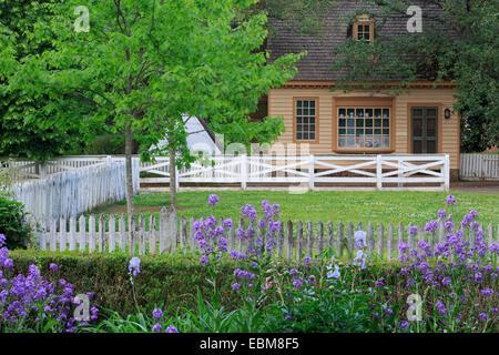 Garden in Colonial Williamsburg, Virginia, USA - Stock Photo