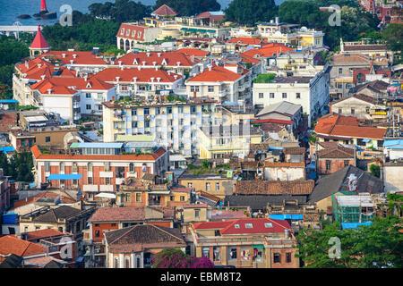 Xiamen, China cityscape of historic buildings on Gulangyu Island. - Stock Photo