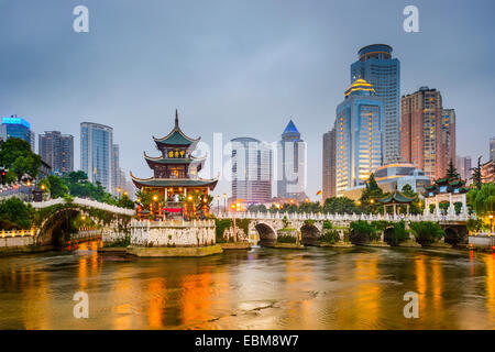 Guiyang, China city skyline on the river. - Stock Photo