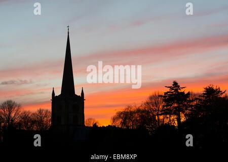 Holy Trinity Church at sunset, Stratford-upon-Avon, Warwickshire, England, UK - Stock Photo