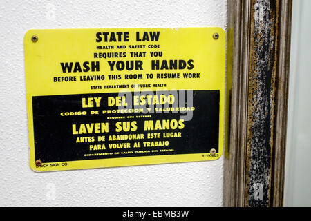 Miami Florida Arby s fast food restaurant inside bathroom sign state law  wash your hands   Stock. Wash Your Hands Sign In A Bathroom Showing Different Languages