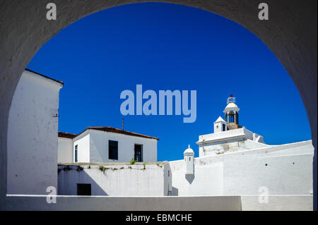 Fortress viewed through an arch, Santa Cruz Fortress, Guanabara Bay, Niteroi, Rio de Janeiro, Brazil - Stock Photo
