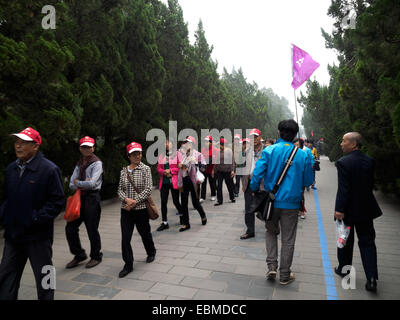 Excursion group of older chinese tourists walking together in Beijing, China - Stock Photo