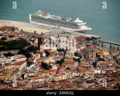 Aerial view of the P&O Azura cruise ship docked in the port of Lisbon, Portugal, Europe - Stock Photo