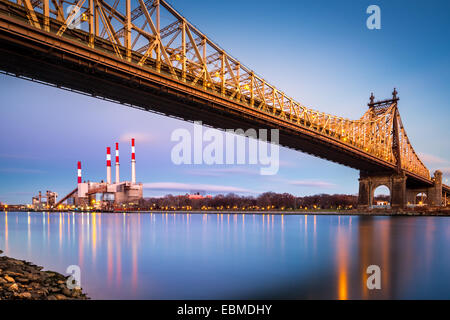 Ed Koch bridge (aka Queensboro bridge) and the Ravenswood generating station as viewed from Roosevelt Island in - Stock Photo