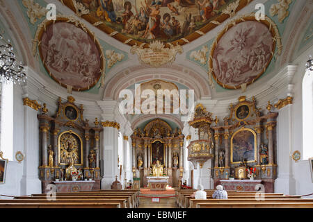 Parish Church of St. Nicholas, Albaching, Wasserburger Land, Upper Bavaria, Bavaria, Germany - Stock Photo