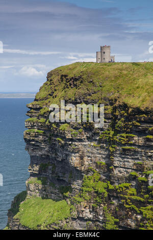 Tower on a cliff, Cliffs of Moher, County Clare, Ireland - Stock Photo