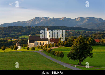 Pilgrimage church of St. Marinus and Anian in Wilparting, Irschenberg, behind Mangfall mountains, Oberland, Upper - Stock Photo