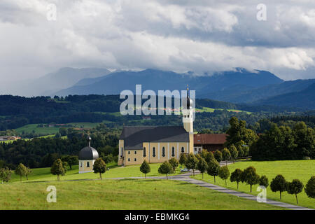 Pilgrimage church of St. Marinus and Anian in Wilparting, Irschenberg, Wilparting, Irschenberg, behind Mangfall - Stock Photo