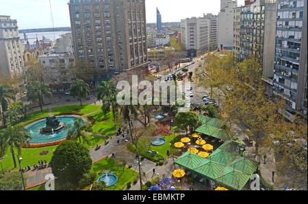 aerial view  on Plaza Fabini Montevideo Uruguay - Stock Photo