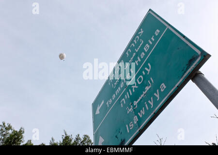 Jerusalem. 3rd December, 2014. Jerusalem Municipality deploys helium balloons equipped with real time video surveillance - Stock Photo