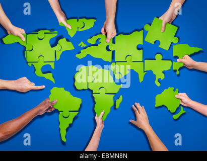 Jigsaw puzzle pieces forming a human head conceptual piece stock aerial view of people forming world map with puzzle pieces stock photo gumiabroncs Choice Image