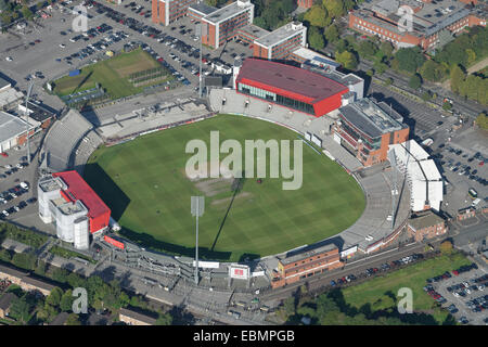 An aerial view of Old Trafford Cricket Ground Manchester. Home of Lancashire County Cricket Club - Stock Photo