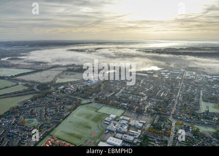 An aerial view of the Buckinghamshire town of Marlow on a misty Autumn morning - Stock Photo
