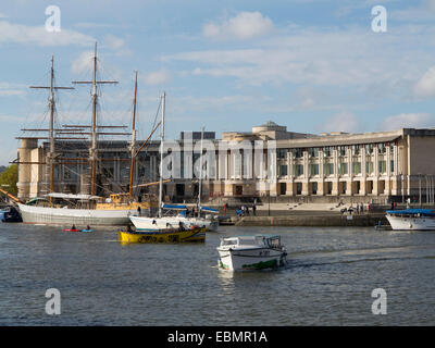 Bristol, England - October 31st, 2014: Lloyds Banking Group, Bristol - Canons House with boats in the floating harbour,