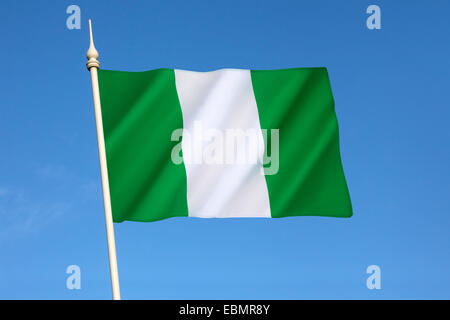 Flag of Nigeria - designed in 1959 and officially adopted on October 1st 1960. - Stock Photo