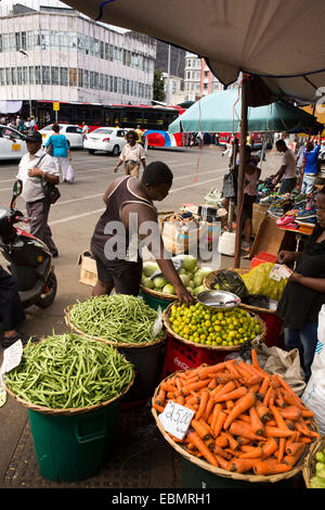 Mauritius, Port Louis, Place Victoria Square, street market, vegetable stall - Stock Photo