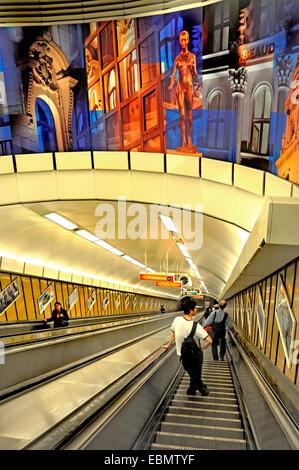 Budapest, Hungary. Escalator at Deak Ferenc ter metro station - Stock Photo