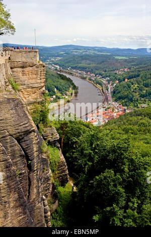 view from Koenigstein fortress into the Elbe valley, Germany, Saxony, Koenigstein - Stock Photo