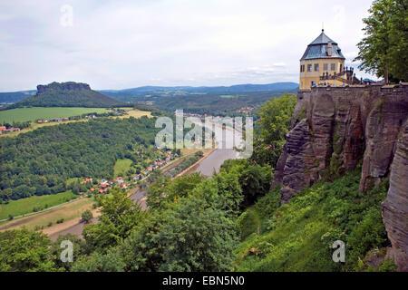 view from Koenigstein fortress onto the Elbe valley, Germany, Saxony, Koenigstein - Stock Photo