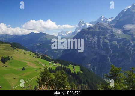 Wetterhorn, Eiger and Moench from the west near Muerren, Switzerland - Stock Photo