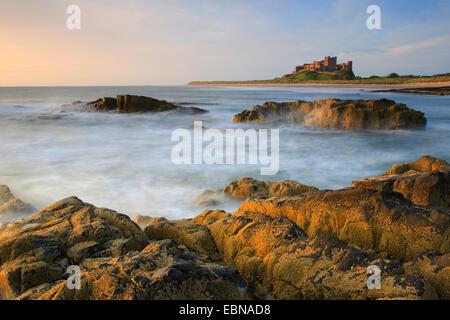 Bamburgh Castle early in the morning, United Kingdom, England, Northumberland - Stock Photo