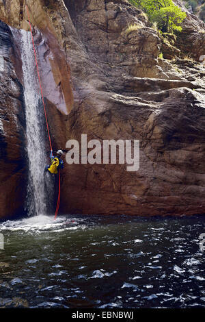 Canyoning in the Baraci canyon, France, Corsica, Propriano - Stock Photo