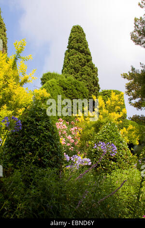 garden of the Villa Ephrussi de Rothschild, France, Saint-Jean-Cap-Ferrat - Stock Photo
