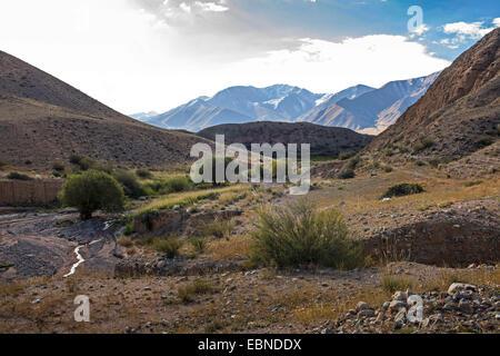 tributary valley in mountain scenery, Kyrgyzstan, Karakoel - Stock Photo