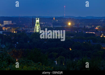 view from Tippelsberg to Bochum and German Mining Museum in evening light, Germany, North Rhine-Westphalia, Ruhr - Stock Photo