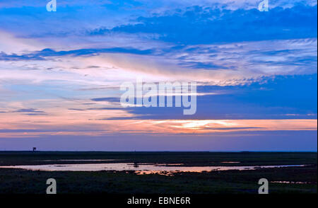 sunset at the North Sea near Spieka Neufeld, county Cuxhaven, Germany, Lower Saxony - Stock Photo
