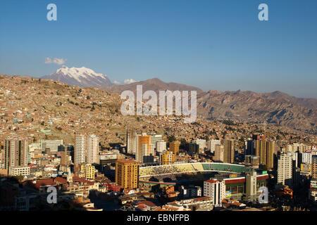 fottball stadium in La Paz, Illimani in the background, Bolivia, Andes - Stock Photo