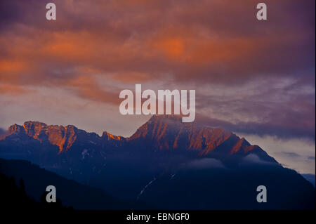 red evening sky over the Alps, Austria, Tyrol - Stock Photo