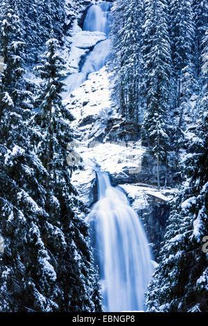 Krimml Waterfalls in winter, Austria, Tyrol, Hohe Tauern National Park, Krimml - Stock Photo