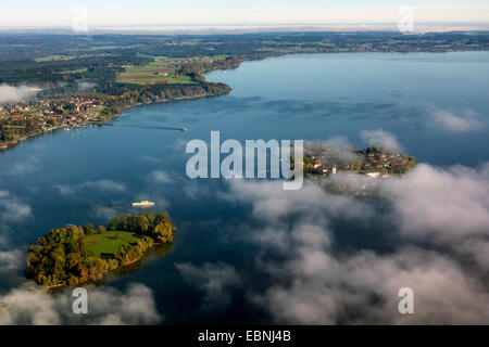 aerial view to Fraueninsel and Krautinsel, Germany, Bavaria, Lake Chiemsee - Stock Photo