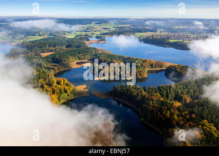 aerial view to Krautsee and Hartsee, Germany, Bavaria, Chiemgau - Stock Photo