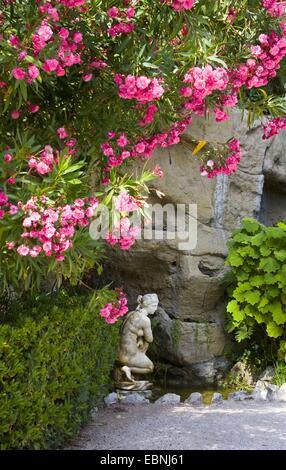 marble statue in the garden of the Villa Ephrussi de Rothschild, France, Saint-Jean-Cap-Ferrat - Stock Photo
