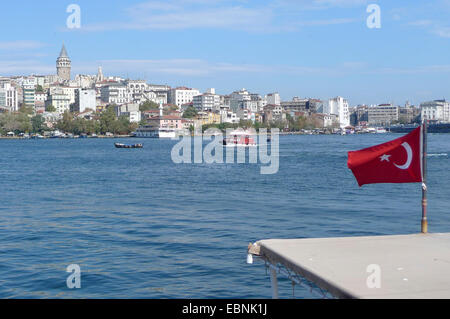 view to Galata Tower and Galata district, Turkey, Istanbul - Stock Photo