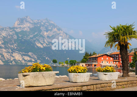 panoramic view over Lake Garda from the promenade of the village, Italy, Trient, Torbole - Stock Photo