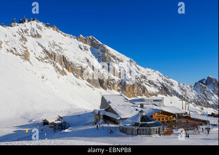 Zugspitze and Zugspitzplatt in winter, Germany, Bavaria - Stock Photo