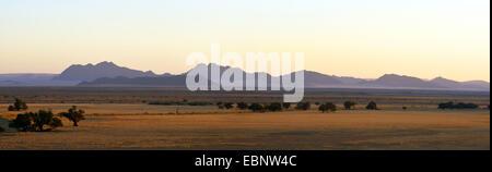 Naukluft Mountains seen from Sesriem Camp, Namibia, Namib Naukluft National Park - Stock Photo